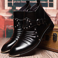 Men's Boots Fall / Winter Combat Boots PU Outdoor / Casual Chunky Heel Beading Black Walking