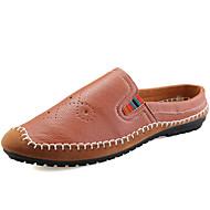 플랫 남자 신발 사무실 & 커리어 / 캐쥬얼 내파 가죽 블랙 / 브라운