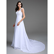 A-line Petite / Plus Sizes Wedding Dress - Chic & Modern Vintage Inspired Sweep / Brush Train V-neck Chiffon / Lace withAppliques /