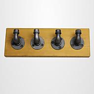 """קולב בגדים ווים קולב קיר בציר מתכת מעיל מתלה ברזל לופט לעמוד עם 40 * 15 ס""""מ עץ FJ-zn1y-013a0"""