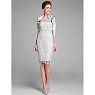 Sheath / Column Mother of the Bride Dress Knee-length Sleeveless Lace with Lace
