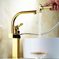Contemporary  Single Handle Golden Finish Pull-Out  Spray  Kitchen Faucets(High)