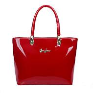 Women Patent Leather Barrel Shoulder Bag / Tote - Beige / Blue / Red / Black