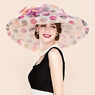 Women's Organza Headpiece-Wedding / Special Occasion / Casual Fascinators / Hats 1 Piece Multicolor Round 57