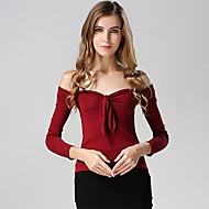 Mulheres Camiseta Casual Simples Outono,Sólido Rosa / Vermelho / Branco / Preto Poliéster Decote Canoa Manga Longa Média