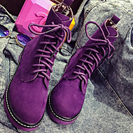 Women's Shoes Synthetic Summer / Fall / Winter Combat Boots Boots Outdoor / Casual Low Heel  Black / Pink / Purple