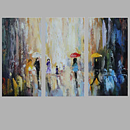 Iarts Abstract FIgure Painting Acrylic Textured Grey Blue 60x30x3pcs (24x 12 inch x3) Inches Customer Design