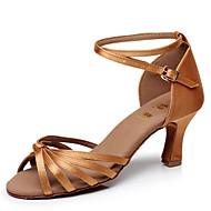 Customizable Women's Dance Shoes Satin / Leatherette Satin / Leatherette Latin Sandals Customized Heel PerformanceBlack / Blue / Brown /