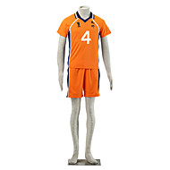 Inspired by Haikyuu Nishinoya Yuu Anime Cosplay Costumes Cosplay Suits Color Block Blue / Orange Short Sleeve T-shirt / Shorts