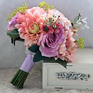 """Bouquets de Noiva Forma-Livre Peônias Buquês Casamento Cetim 9.06""""(Aprox.23cm)"""