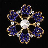 Vintage Fashion Korean Glass Crystal Flower Wedding Brooches for Women