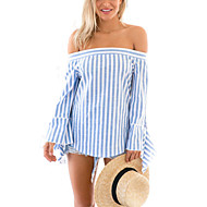 Bomull / Polyester Blå Tynn Langermet,Båthals Bluse Stripet Sommer Sexy Ut på byen Kvinner