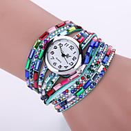 Women's Acrylic Rhinestone PU Leather Band White Case Analog Quartz Bracelet Fashion Watch