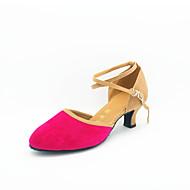 משאבות של הנשים מודרניות נעלי העקב קובני ריקוד זמש הבהיר (יותר צבעים)