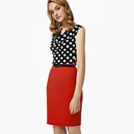 여성의 칼집 드레스 작동 플러스 사이즈 / 섹시 도트무늬,카울 넥 무릎 위 민소매 멀티 색상 폴리에스테르 여름