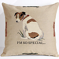Linen Pillow Cover/Case ,  Woven Traditional/Classic Special Dog  Feature