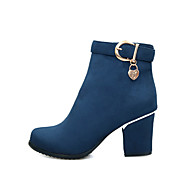 Women's Shoes Velvet Fall / Winter Fashion Boots /  Round Toe Boots Office & Career / Casual Chunky Heel ZipperBlack