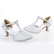 Customizable Women's Dance Shoes Synthetic Synthetic Latin Heels Cuban Heel Indoor / Performance Silver / Gold