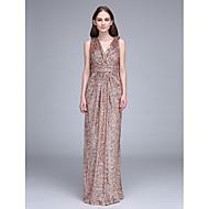 LAN TING BRIDE Floor-length V-neck Bridesmaid Dress - Open Back Short Sleeve Sequined