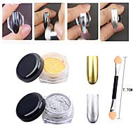 2pcs Gold Silver Chrome Mirror Powder Dust Pigment Magic Aluminum Nail Sequins Glitters DIY Nail Decoration Tools