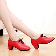 Customizable Women's Dance Shoes Leather Leather Latin / Dance Sneakers Heels Cuban Heel Indoor / Performance Black