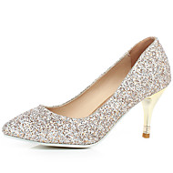 Women's Spring Summer Fall Winter Glitter Dress Stiletto Heel White Gold