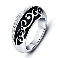 טבעות הצהרה סגסוגת זירקון Round Shape אופנתי גילוי תכשיטים שחור תכשיטים Party יומי קזו'אל 1pc