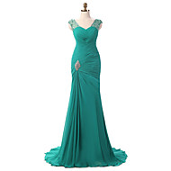 Formal Evening Dress Trumpet / Mermaid V-neck Court Train Chiffon with Pleats / Side Draping / Crystal Brooch