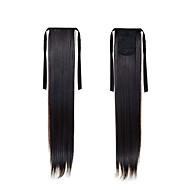 új lófarok póthaj 22inch 55cm hosszú, egyenes magas hőmérsékletű haj # 2 természetes fekete szintetikus lófarok