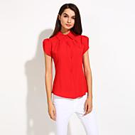 Mujer Simple Formal Primavera / Verano / Otoño Camisa,Cuello Camisero Un Color Manga Corta Algodón Rojo / Blanco / Multicolor Opaco / Fino