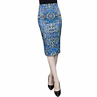 Women's Print Blue Skirts,Plus Size Knee-length