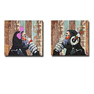 Ручная роспись Животное Картины маслом,Modern 2 панели Холст Hang-роспись маслом For Украшение дома