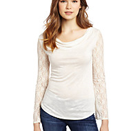 Women's Casual/Daily Street chic Summer Blouse,Solid Round Neck Long Sleeve White / Black Cotton Opaque