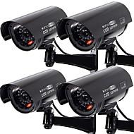 KingNEO 4pcs Outdoor Dummy Camera Simualted Security Surveillance camera black
