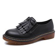 Bez podpatku-Koženka-Pohodlné / Kulatá špička / Uzavřená špička-Dámská obuv-Černá / Žlutá / Bílá-Běžné-Nízký podpatek