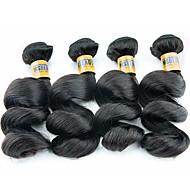 "4 Pcs /Lot 12""-28""6A Brazilian Virgin Hair Loose Wave Human Hair Wefts 100% Unprocessed Brazilian Remy Hair Weaves"