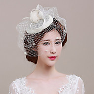 Women's Feather / Tulle / Basketwork Headpiece-Wedding / Special Occasion / Casual / Outdoor Fascinators 1 Piece