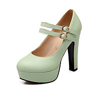 Women's Heels Spring Summer Fall Ankle Strap Comfort PU Dress Casual Party & Evening Chunky Heel Buckle Green Pink Purple Beige Walking