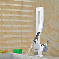 Contemporary Vessel Widespread with  Ceramic Valve Single Handle One Hole for  Chrome , Bathroom Sink Faucet