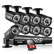 Zosi @ 2,0 megapixelu vodotěsné IR-cut bullet kamera Sada zabezpečení Kamerové systémy 8ch 1080p HDMI DVR 2TB HDD 8xoutdoor
