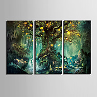 E-HOME® Stretched LED Canvas Print Art Shining Fantasy Tree LED Flashing Optical Fiber Print Set of 3