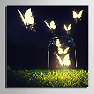 E-HOME® Stretched LED Canvas Print Art Luminous Butterfly LED Flashing Optical Fiber Print One Pcs