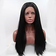 moda longa reta dianteira do laço sintético peruca sem cola perucas cor preta