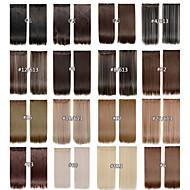 Klip na prodlužování vlasů 24inch 60cm 120g 5clips dlouhými rovnými syntetický Prodlužování vlasů umělých vlasů 16 barev