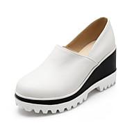 dámské boty z umělé kůže klínový podpatek klíny mokasíny venkovní / sportovní / volný čas černá / bílá / béžová