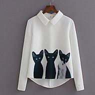 Women's Print Cat Cute Sweet Simple Street chic All Mactch  Shirt,Shirt Collar Long Sleeve