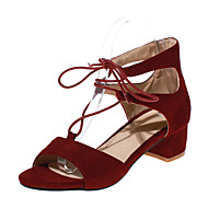 Women's Shoes Chunky Heel D'Orsay & Two-Piece / Open Toe Sandals Dress Black / Brown / Burgundy