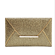 Women Metal / leatherette Event/Party Clutch Gold / Brown / Black