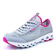 tênis de corrida das mulheres tule liso conforto calcanhar sapatilhas da forma atlético azul / verde / cinza / fúcsia