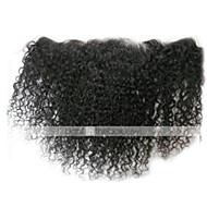 8-24 inch Nero naturale (#1B) Kinky Curly Capelli Chiusura Castano medio Uncinetto svizzero 30-50 grammo Cap Size